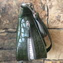 Alternate image 3 for Zippered Messenger Bag With Green Crocodile And Python Trim By Lanae