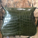 Alternate image 4 for Zippered Messenger Bag With Green Crocodile And Python Trim By Lanae