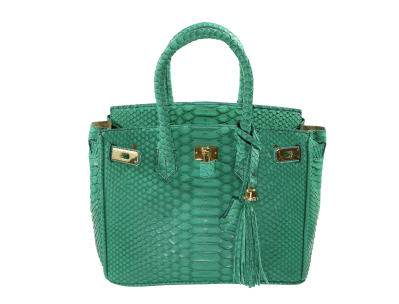 The Anna 30 - Kelly Green Python  is a handmade genuine exotic leather bag by 3rd generation leather artisans in California, all edges are hand painted, interior is garment suede and the bag has all italian palladium hardware.  Most bags come with a shoulder strap or can be customized to include one.  Please inquire via email or chat for more photos.