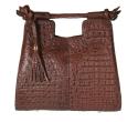 Alternate image 1 for Brown Nile Crocodile Hornback Bag By Lanae