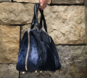 Alternate image 1 for Navy Springbok Bell With Black Ostrich Trim By Lanae Exotic Handbags