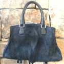 Alternate image 4 for Navy Springbok Bell With Black Ostrich Trim By Lanae Exotic Handbags