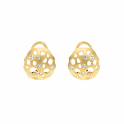 Closeup image for View Diamond Hollow Coin Earrings By Dana Bronfman