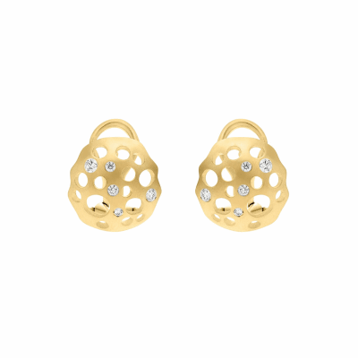 A playful take on classic elegance, these earrings are extremely light, comfortable, and feel lovely to wear. Reminiscent of a lily pad with a domed center, the Closed Lily studs curve elegantly with an organic edge, whose many curves, evoke its surrealist inspiration, balanced with a clean and simple matte finish. Circular openings of varying sizes and diamonds dot the shape of the earring.  Available in reclaimed 18 karat yellow, rose, or white gold, or in black rhodium-plated silver. Features a post and clip on the back of the earring for an extremely comfortable and light fit. The bottom of the earrings rests just below the lobe. Diamond carat weight totals approximately .32. 4g -7g, 1.5cm diameter, .7cm depth Made in New York City from the world's finest materials and ethically-sourced diamonds. Please allow 3-4 weeks after you order for the piece to reach you, as each piece is created just for you.  SHARE