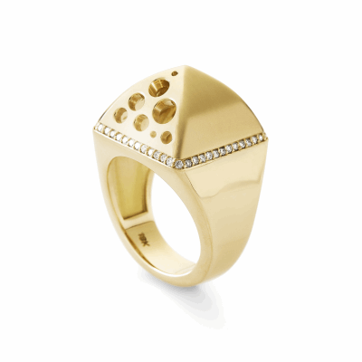 "This cocktail ring makes a statement with its dimension, attention to detail, and beautiful contrast of matte and shiny finishes. A row of diamonds encircles the sides of the pyramidal top, and handmade ""oculus"" cutouts of varying sizes on two of the pyramids' sides allow this ring to pack an impact that is perfect for day or night.  Available with matte-finished top and high-polished sides in 18k yellow gold. Features approx. .32 carats of VS-clarity and G color diamonds. Ring weighs 21g. Pyramid measures 17mm x 17mm x 11. mm high, shank 2.2mm thick. Made in New York City from the world's finest materials and ethically-sourced diamonds. Please allow 3-4 weeks for delivery as each piece is specially made for you."