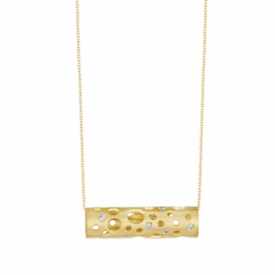 """This version of the Holly Pendant is a reinterpretation of the Holly seen in previous collections, first with no diamonds, and then with micropavé. It is a Dana Bronfman signature piece, this time offered with burnish-set diamonds, equally as versatile and classic.   Available in 18 karat yellow, white gold and black rhodium - plater sterling silver with diamonds.  7g -11g, 1.5 cm long x .6cm diameter Burnish-set diamonds (approx. .35 tcw) Adjustable (up to 18"""") chain in 18 karat yellow gold  Made in New York City from the world's finest materials and ethically-sourced diamonds.  Please allow 3-4 weeks for your order to reach you as it will be created just for you."""