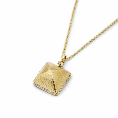 The Pyramid Pendant is a symmetrical statement and a strikingly modern classic piece. The hammered gold catches the light and subtly shines, and the bale with a bezel-set diamond atop pivots from side to side. A row of diamonds surround the pyramid's sides, and a back incorporating open space adds a hidden detail that sits close to the wearer's heart.  Pendant available in variations of 18k yellow and white gold with diamonds.  Pendant comes on an adjustable-length 18k gold chain, making it easy to wear as short as choker length or as long as 18 inches.  Ideal for layering or wearing alone. Diamonds are VS clarity and G color; carat weight totals approximately .34. Weighs 15g and measures 17mm wide x 17mm long x 11.3 mm high. Made in New York City from the world's finest materials and ethically-sourced diamonds.  Please allow 3-4 weeks for delivery as each piece is created specially for you.