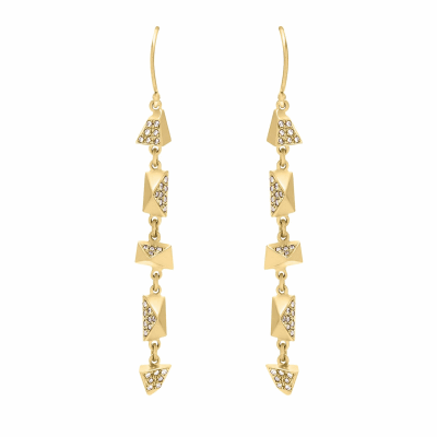 Encrusted diamonds on alternating asymmetrical hand-carved pyramids and triangles create these delicate drop earrings.  Available in 18 karat yellow or rose gold. Features diamond pavé on the largest facet of each piece, approx. .2 tcw. Matte finish, allows diamonds to pop in contrast. 0.7 X 0.4 cm, 1.5 g Made in New York City from the world's finest materials and ethically-sourced diamonds. Please allow 3-4 weeks for delivery as each piece is created just for you.