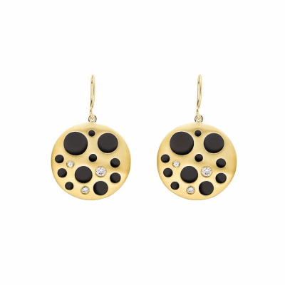 """A two-layered circular """"coin"""" earring, featuring circular cutouts of varying sizes to allow the back piece to shine through. Three cutouts on each earring feature burnish-set diamonds, which pop against the black background. The double-layer effect allows for light movement between the concave and convex metal pieces.  Available with 18 karat yellow gold front layer and black rhodium-plated sterling silver back. Matte finish, allowing diamonds to pop in contrast. Features three burnish-set diamonds in each earring, approx. 0.36 carat. 18k gold or sterling silver ear wires.  2.5 cm diameter, 10 g Made in New York City from the world's finest materials and ethically-sourced diamonds. Please allow 3-4 weeks for delivery as each piece is created specially for you."""