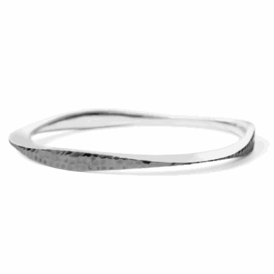 "This signature bangle features a combination of signature hammered and matte textures. Ideal for stacking !   Bangle available in sterling silver or black rhodium - plated sterling silver.  Available in two sizes: 2.5"" or 2.75"" in diameter. Please contact us if you need a different size, sales@danabronfman.com 0.6 x 0.7 cm, 17.5 g Made in New York City from the world's finest materials.  1 of each variation and size in stock available to ship right away. Please allow 3-5 business day for your order to arrive!"