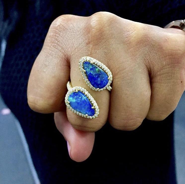 Boulder Opal Twisted Diamond Ring - alternate