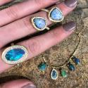Alternate image 2 for Boulder Opal Twisted Diamond Ring By Lauren K