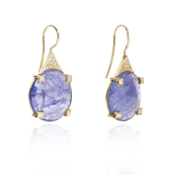 Closeup image for View Joyce Tanzanite & Boulder Opal Hi-Lo Earrings By Lauren K