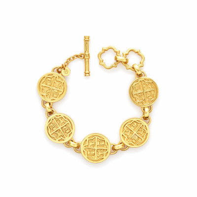 The Valencia Bracelet is a royal, 17th century-inspired wrist piece featuring four-quadrant 24k gold plates and adjustable toggle closure. Learn more: