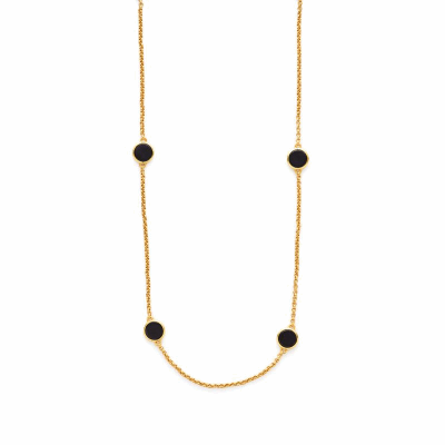 Eight gold coin stations, inspired by a 17th century doubloon, on an elegant chain. 37.5 inches. 24K gold plate. Julie Vos hallmark.