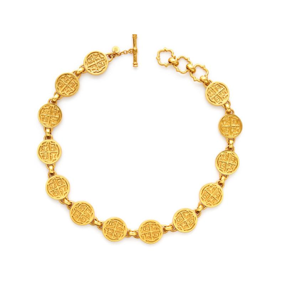 The Valencia Necklace is a 24k gold, 17th century-inspired choker that features a royal four-quadrant crest with adjustable toggle closure. Learn more: