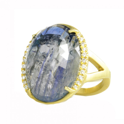 """Every piece of the Lauren K Collection is proudly crafted in New York City.  The Lauren K Collection is comprised entirely of handpicked gemstones, crafted in 18 karat gold, and finished with delicate micro pave. Each stone is carefully selected for a variety of reasons. In fact, very few are ever chosen for their unspoiled beauty. Instead, most stand out for their characters and flaws which give the finished piece its own distinctive personality and unique look. Our gemstones are always the """"star of the show"""". Nothing in the collection is mass produced, creating pieces that speak to each individual buyer.  Each stone is one of a kind, the finished product may vary from the stock photo as shown."""