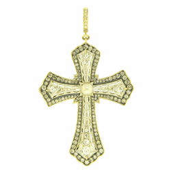 Closeup image for View Edwardian Cross Pendant Diamond Bezel By Cynthia Ann Jewels