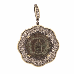 Closeup image for View St. Benedict Cross Pave Diamond Pendant By Cynthia Ann Jewels