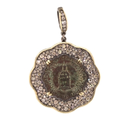 Lady Of Montserrat Scalloped Pave Diamond pendant - alternate