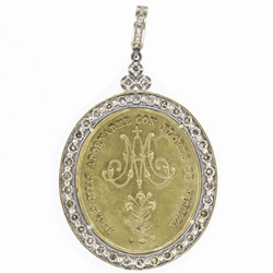 Closeup image for View Lady Of Montserrat Scalloped Pave Diamond Pendant By Cynthia Ann Jewels