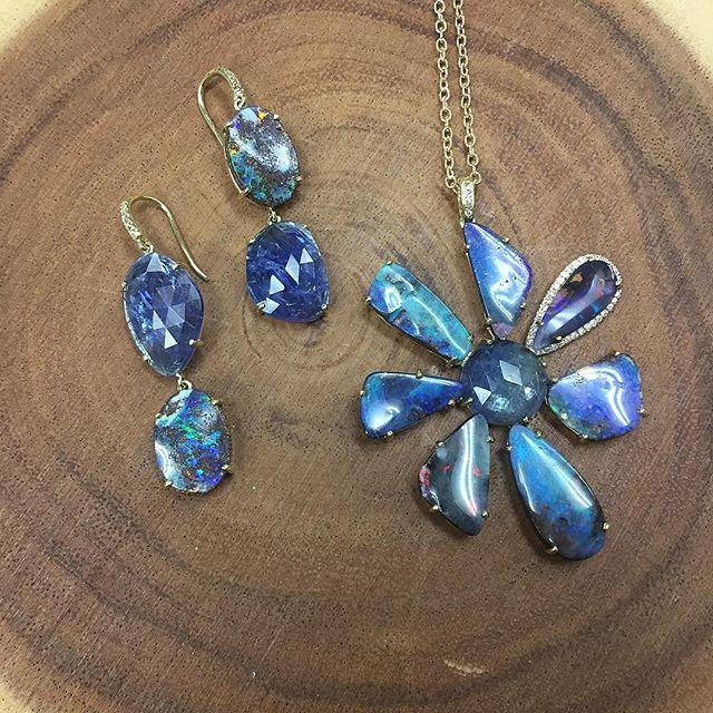 Gemma Flower Boulder Opal & Tanzanite Necklace - alternate