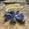Alternate image 2 for Gemma Flower Boulder Opal & Tanzanite Necklace By Lauren K