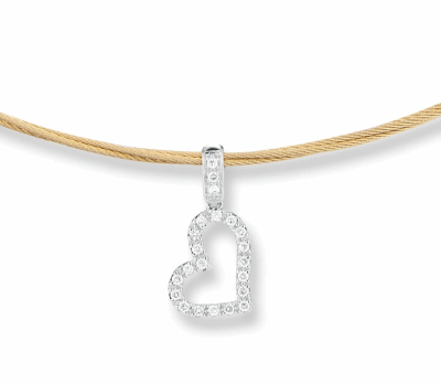 "Yellow cable, 18kt. White Gold, 0.19total carat weight. Diamonds and stainless steel, 17"" length. Imported."