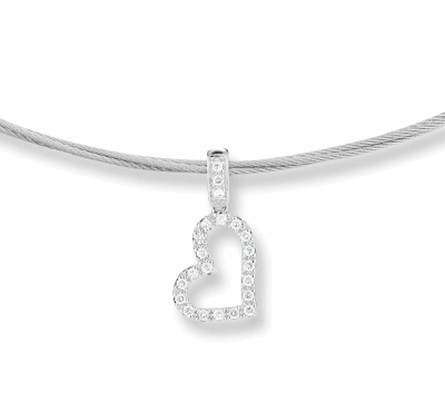 "Grey cable, 18kt. White Gold, 0.14total carat weight. Diamonds and stainless steel, 17"" length. Imported"