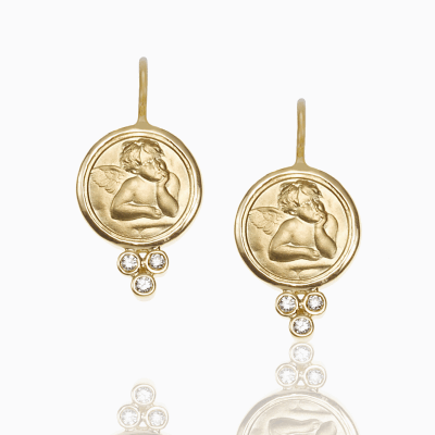 18K Angel Earrings with diamond - Temple St. Clair