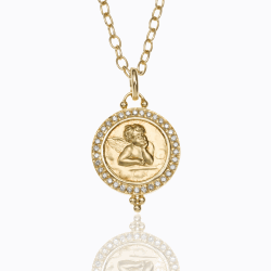 Closeup image for View 18K Lion Coin Pendant With Diamond By Temple St. Clair