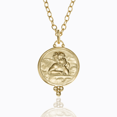 18K Angel Pendant - Temple St. Clair We offer complimentary engraving with any purchase of an Angel Pendant. Please contact us at help@shoplanae.com for more details.