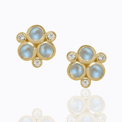 Closeup image for View 18K Wing Earrings With Royal Blue Moonstone And Diamond By Temple St. Clair
