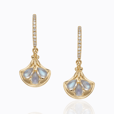 18K Lotus Earrings in royal blue moonstone and diamond - Temple St. Clair
