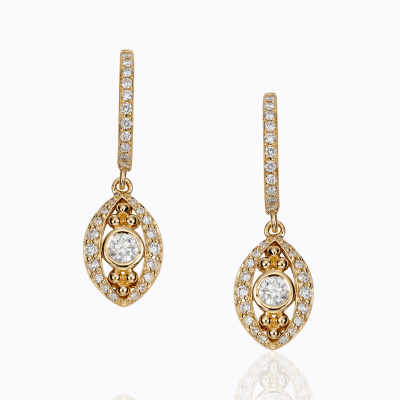 18K Evil Eye Drop Earring in diamond - Temple St. Clair