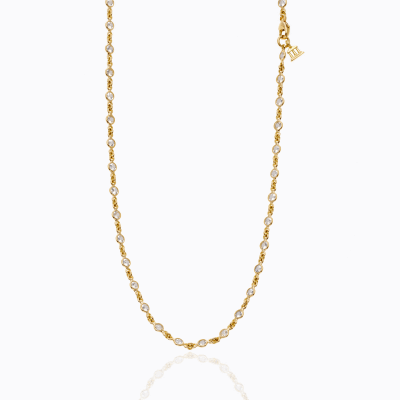 18K Classic Longchain Necklace with faceted white sapphire - Temple St. Clair