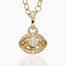 Closeup image for View 18K Horse Coin Pendant With Diamond Pavé By Temple St. Clair