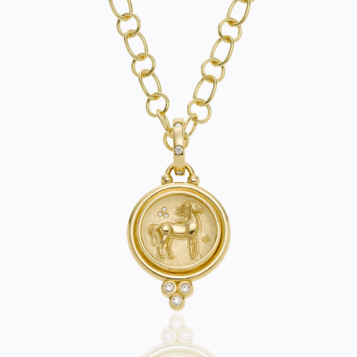18K Horse Coin Pendant with diamond - Temple St. Clair We offer complimentary engraving with any purchase of a Horse Coin Pendant. Please contact us at help@shoplanae.com for more details.