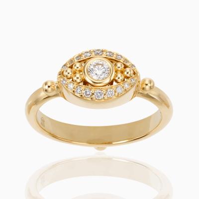 18K Mini Evil Eye Ring in diamond - Temple St. Clair