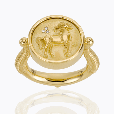 18K Horse Coin Ring with diamond - Temple St. Clair