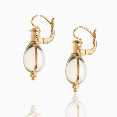 18K Classic Amulet Earrings with rock crystal - Temple St. Clair