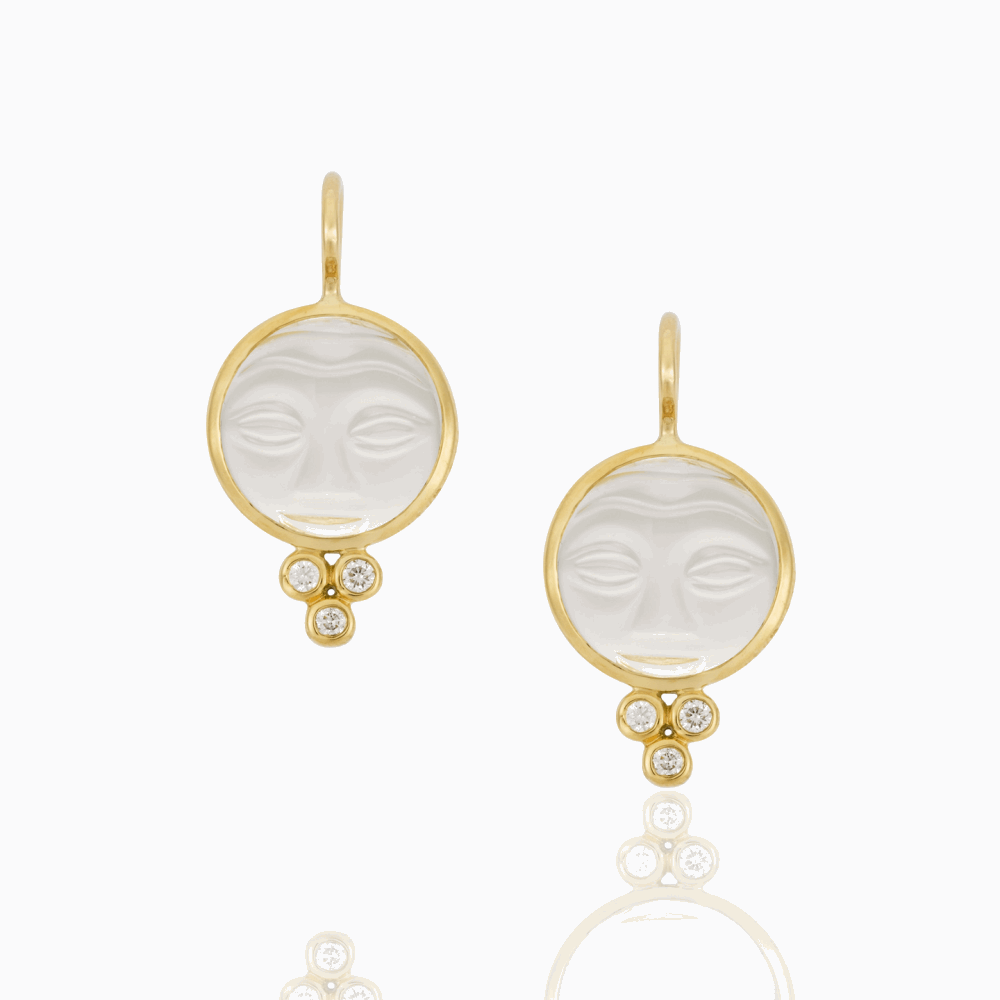 18K yellow Gold Moonface Earrings with Rock Crystal and diamonds - 10mm