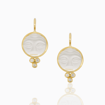 18K Moonface Earrings with rock crystal and diamond - 10mm - Temple St. Clair