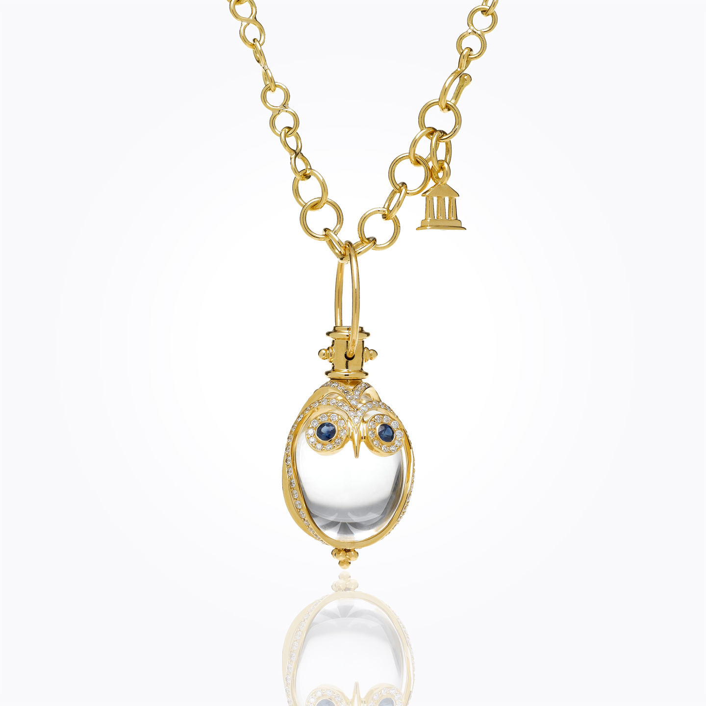 18K Owl Amulet with blue sapphire and diamond pave - alternate