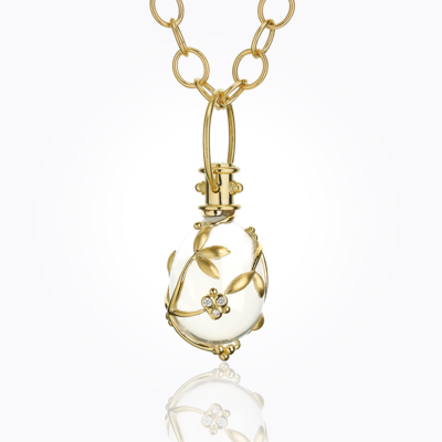 18K Vine Amulet with oval rock crystal and diamond - Temple St. Clair