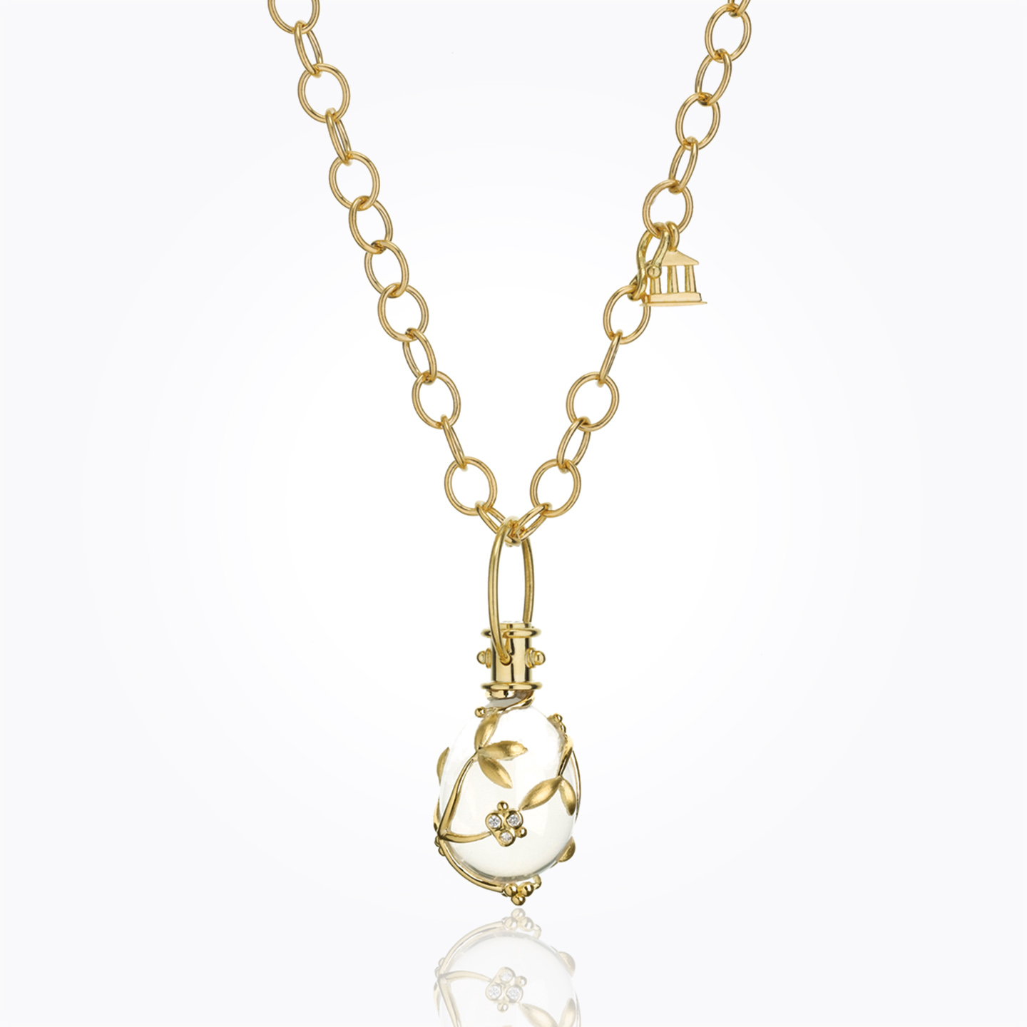 18K Vine Amulet with oval rock crystal and diamond - alternate