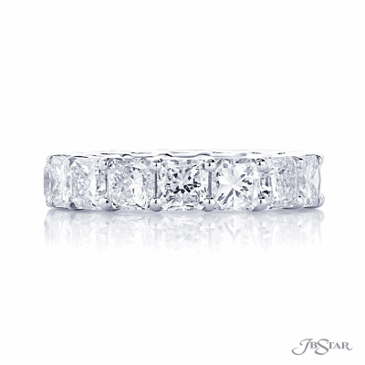 Dazzling diamond eternity band featuring 16 perfectly matched radiant cut diamonds in a shared prong setting.