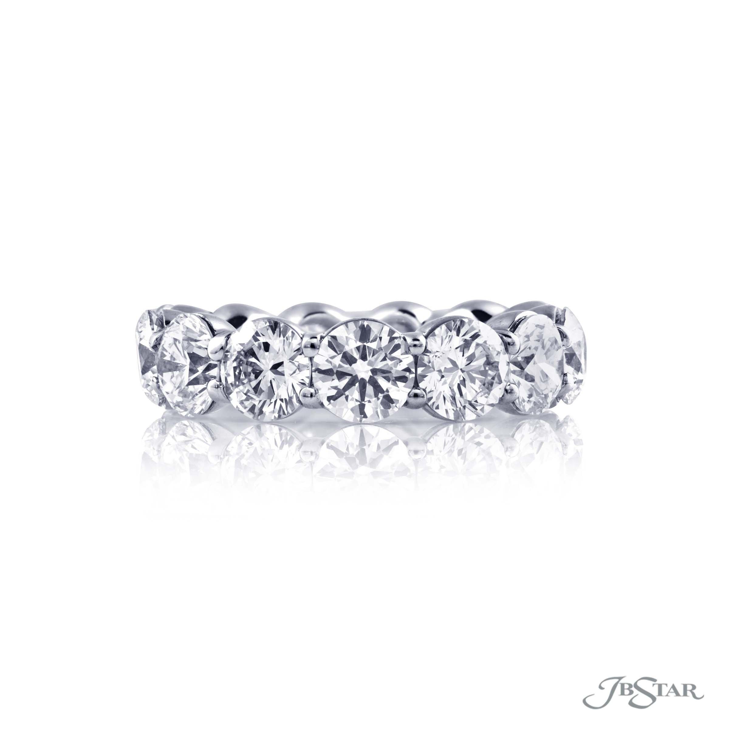 JB Star Round Diamond Platinum Eternity Ring 6.81 cts - alternate