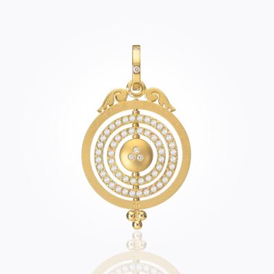 18K Three Ring Tolomeo Pendant with diamond - Temple St. Clair