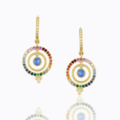 18K Piccolo Tolomeo Earrings with mixed sapphire and blue sapphire center - Temple St. Clair